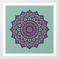 islam Art Prints featuring Mandala Blue by Mantra Mandala