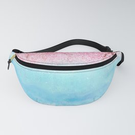 watercolor light blue sky pink glitters Fanny Pack