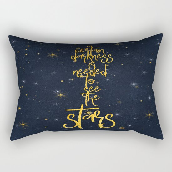 Darkness-Stars - sparkling night gold glitter effect typography on #Society6 Rectangular Pillow