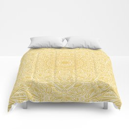 Most Detailed Mandala! Yellow Golden Color Intricate Detail Ethnic Mandalas Zentangle Maze Pattern Comforters