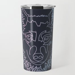 Vector wolf in one line Travel Mug