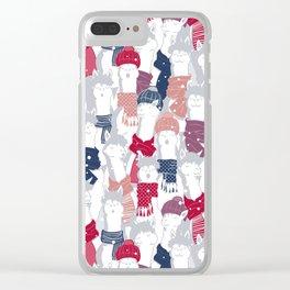 Happy llamas Christmas Choir III Clear iPhone Case