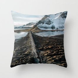 Icelandic black sand beach and mountain road - landscape photography Throw Pillow