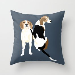 Gracie and Greta tree walker coonhounds Throw Pillow