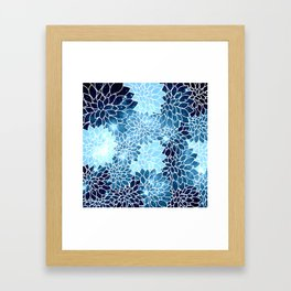 Space Dahlias Blue Ice Framed Art Print