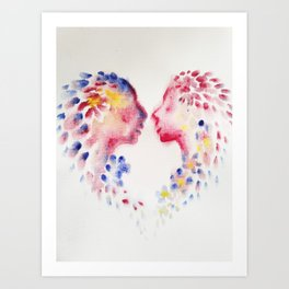 Lovers face to face acrylics on canvas painting Art Print