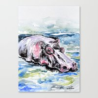 hippo Canvas Prints featuring Hippo by Tricia Kibler