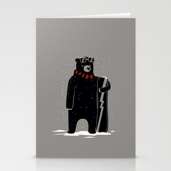 Bear on snowboard Stationery Cards