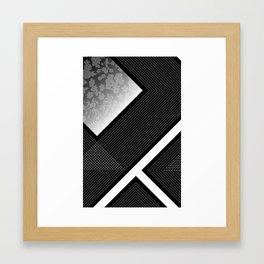 modern grid & flower Framed Art Print