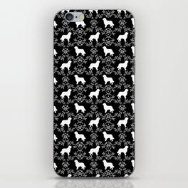 Bernese Mountain Dog florals dog pattern minimal cute gifts for dog lover silhouette black and white iPhone Skin