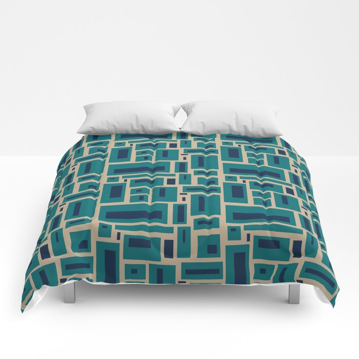 Geometric Rectangles in Navy, Teal and Tan 2 Comforters by fischerfinearts