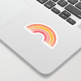 Whimsical Vintage Rainbow Waves Sticker
