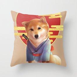 Samurai Shiba Throw Pillow