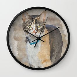 CALICO CAT WATERCOLOR Wall Clock
