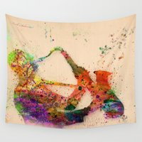 saxophone Wall Tapestries featuring music saxophone by mark ashkenazi