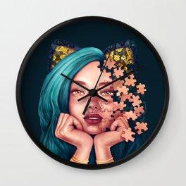 Puzzle Cat Girl Wall Clock