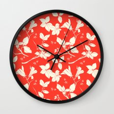 Drawings from Stonecrop Garden, Pattern in Red Wall Clock