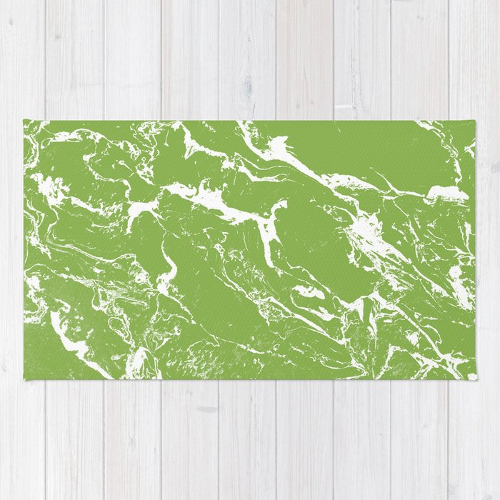 Modern green white marble greenery color of the year pattern Rug