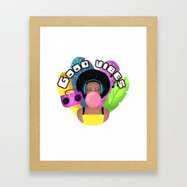 Afro girl with headphones and chewing gum listening music Framed Art Print