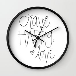 Crave Happy, Love Wall Clock