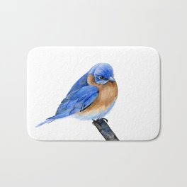 BlueBird, Blue Bird, Watercolor Painting by Suisai Genki Bath Mat