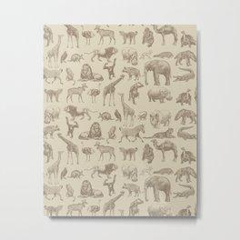 African Animals Vintage Illustration Pattern II Metal Print