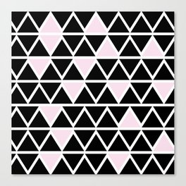 Abstract geometric triangle pattern- pink-black Canvas Print