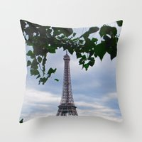 eiffel Throw Pillows featuring Eiffel by M. Gold Photography
