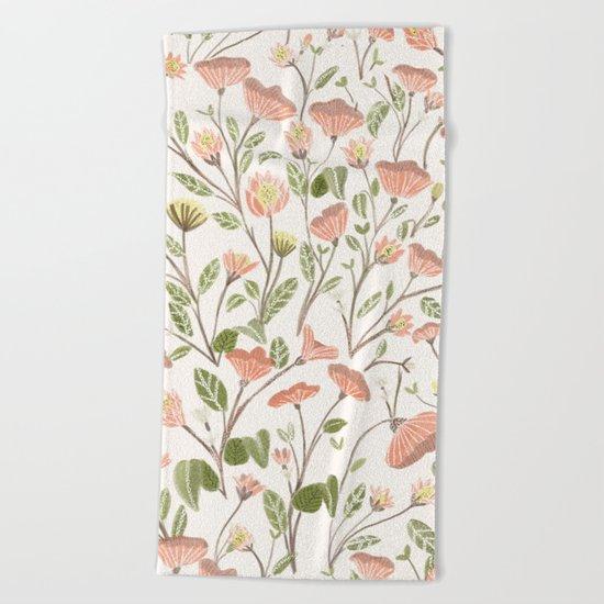 Spring Floral Pattern Beach Towel