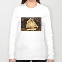 sailboat Long Sleeve T-shirts featuring Golden Sailboat by Michael P. Moriarty