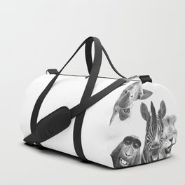Black and White Jungle Animal Friends Duffle Bag