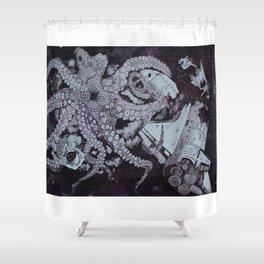 Deep Space Kraken Intaglio Etching Shower Curtain
