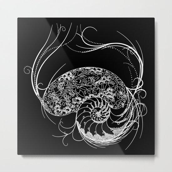 Black And White Shell Design Metal Print