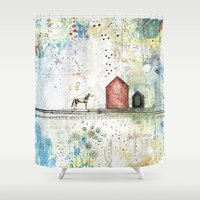 pony Shower Curtains featuring Pony Up by Sarah Ogren