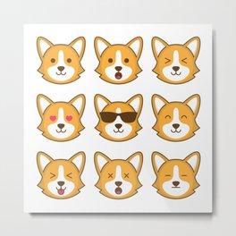 cute corgi dog emoticon pattern Metal Print