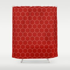 Simple Honeycomb Pattern  Red U0026 White  Mix U0026 Match With Simplicity Of Life  Shower