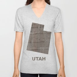 Utah map outline Gray hand-drawn wash drawing Unisex V-Neck