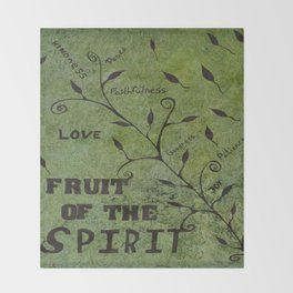 Faith Religious Art---Fruit of the Spirit---Bible Scripture Galations 5:22 by Saribelle rodriguez Throw Blanket