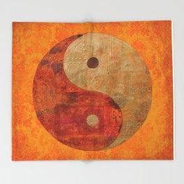 Yin and Yang original collage painting Throw Blanket