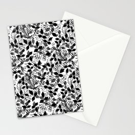 Vintage. Black and white. Leaves, curls. Stationery Cards