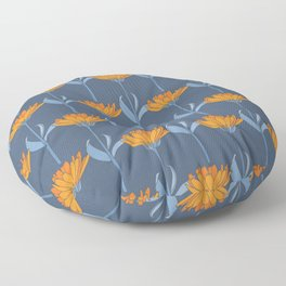 Floral in Blue and Orange Floor Pillow