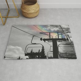 4 Seat Chair Lift Rainbow Sky B&W Rug