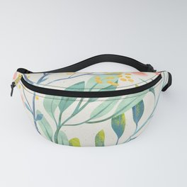 Floral Seamless Pattern Mystical Magical Delicate Flowers Green Leaves Pink Blossoms Fanny Pack