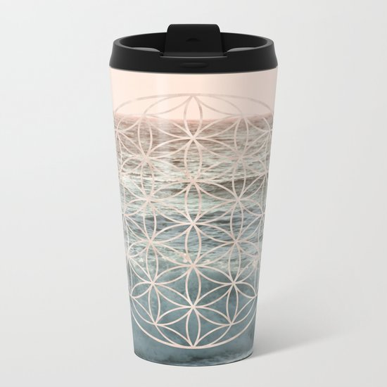 Mandala Flower of Life Sea Metal Travel Mug
