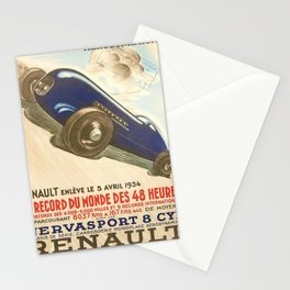 1930 Le Mans French Motor Auto Racing Vintage Poster Stationery Cards