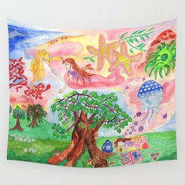 Medilludesign - Lucid dreams - flying in the sea Wall Tapestry