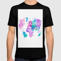 Modern world map globe bright watercolor paint Mens Fitted Tee MEDIUM Black