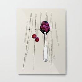 raspberry on spoon by carographic Metal Print