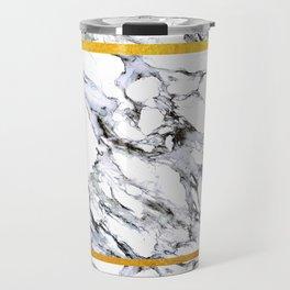 Marble and Golden Stripes Travel Mug