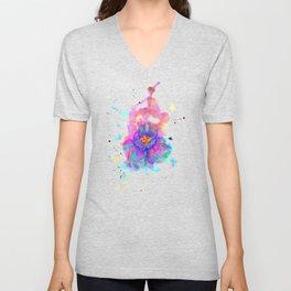 Colorful Watercolor Flower Unisex V-Neck
